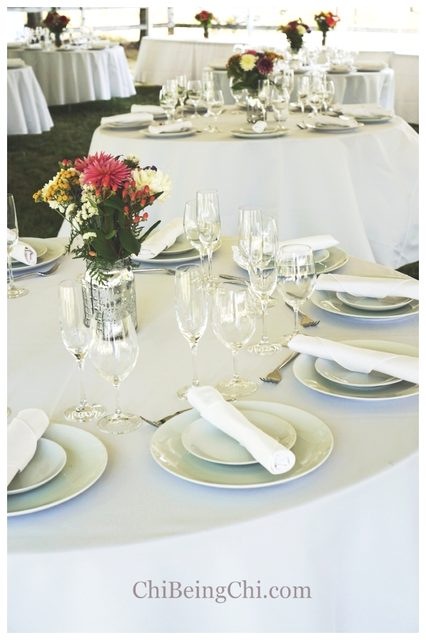 Rented table settings & local flowers
