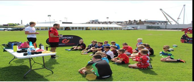 Wales international Tyler Morgan attends the summer skills camp at Rodney Parade