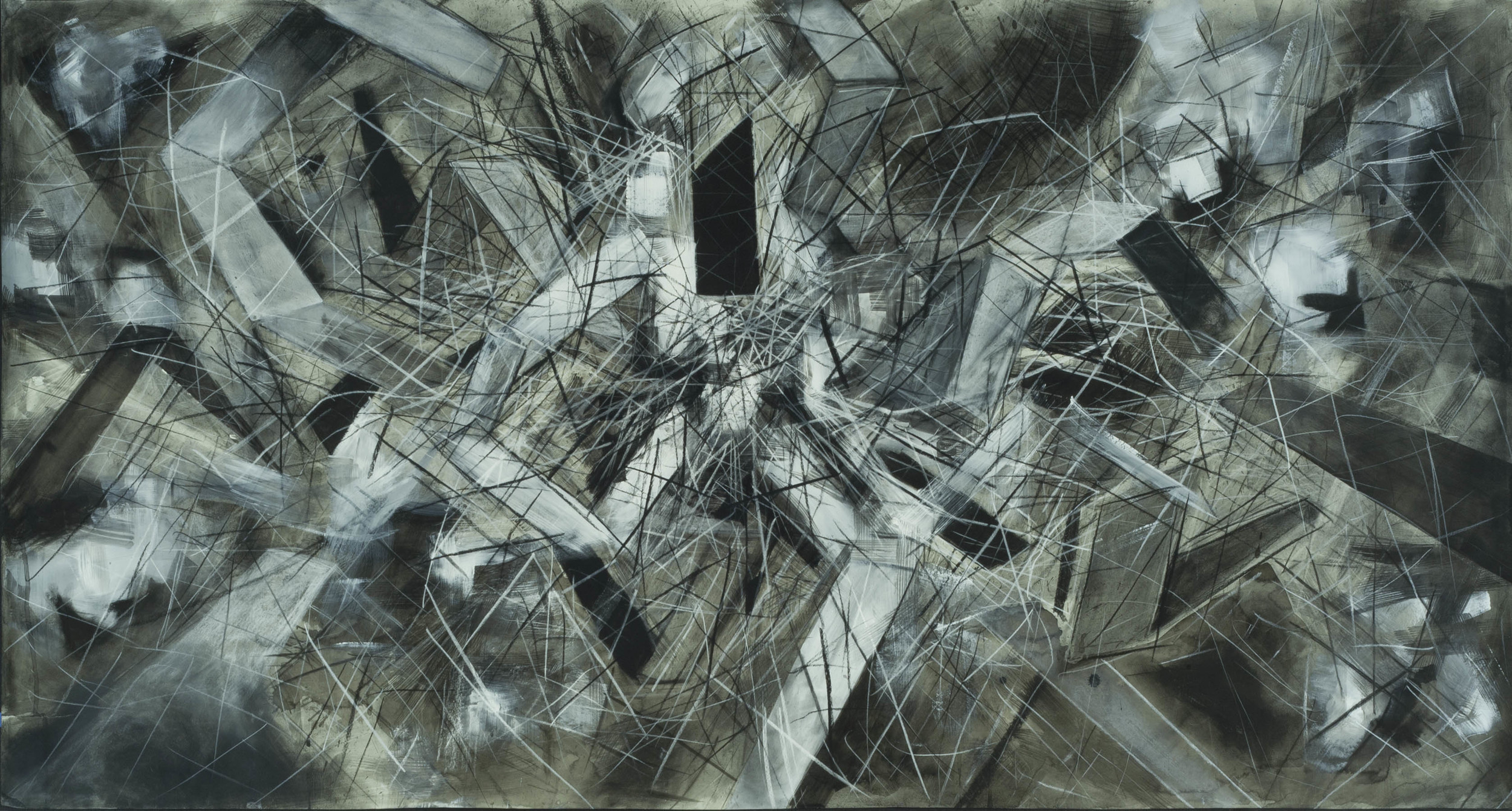 """Vortex,  charcoal, ink, and acrylic on paper, 36"""" x 70"""""""