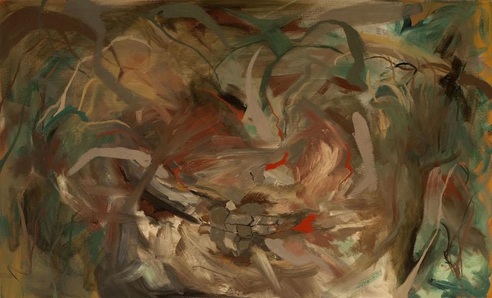 "Nesting, oil on canvas, 24"" x 40"""