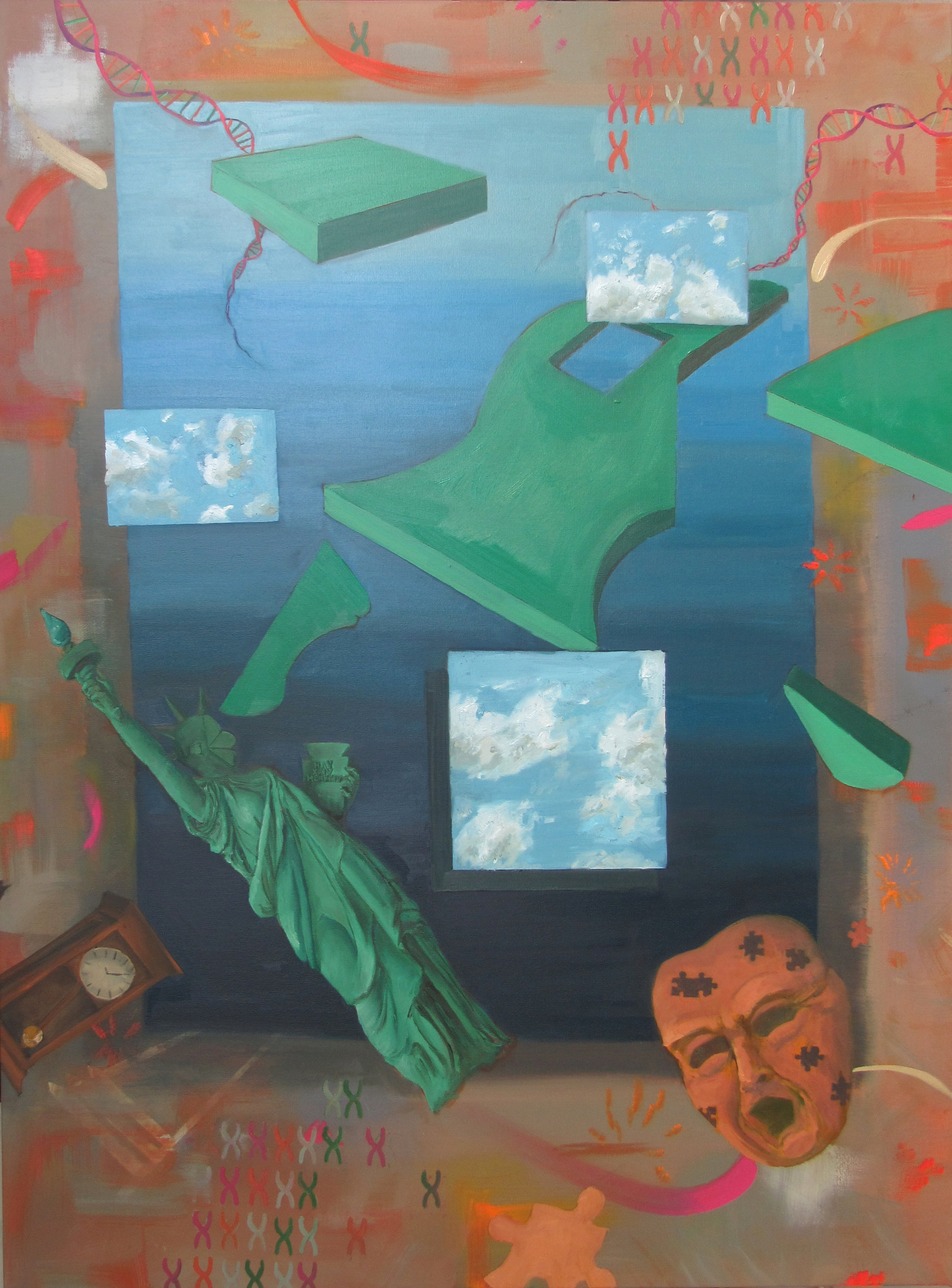 "Cyclical History,  oil on canvas, 48""x36"""