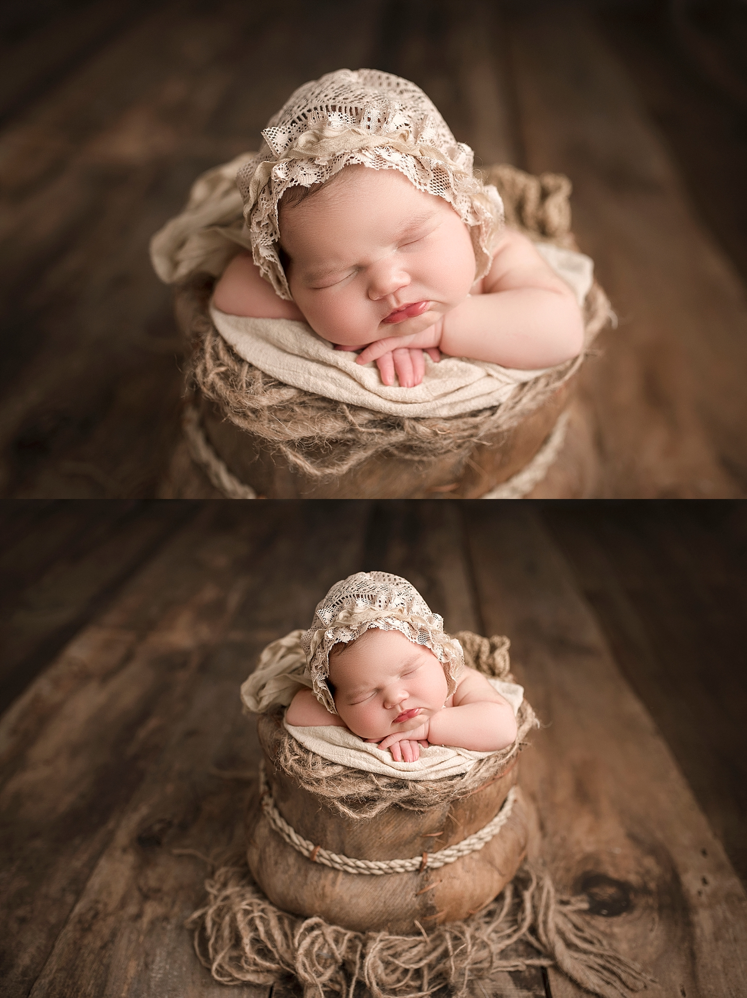 Newborn session prop posing