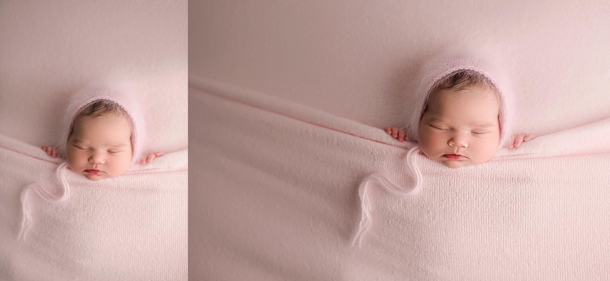 Newborn girl posing