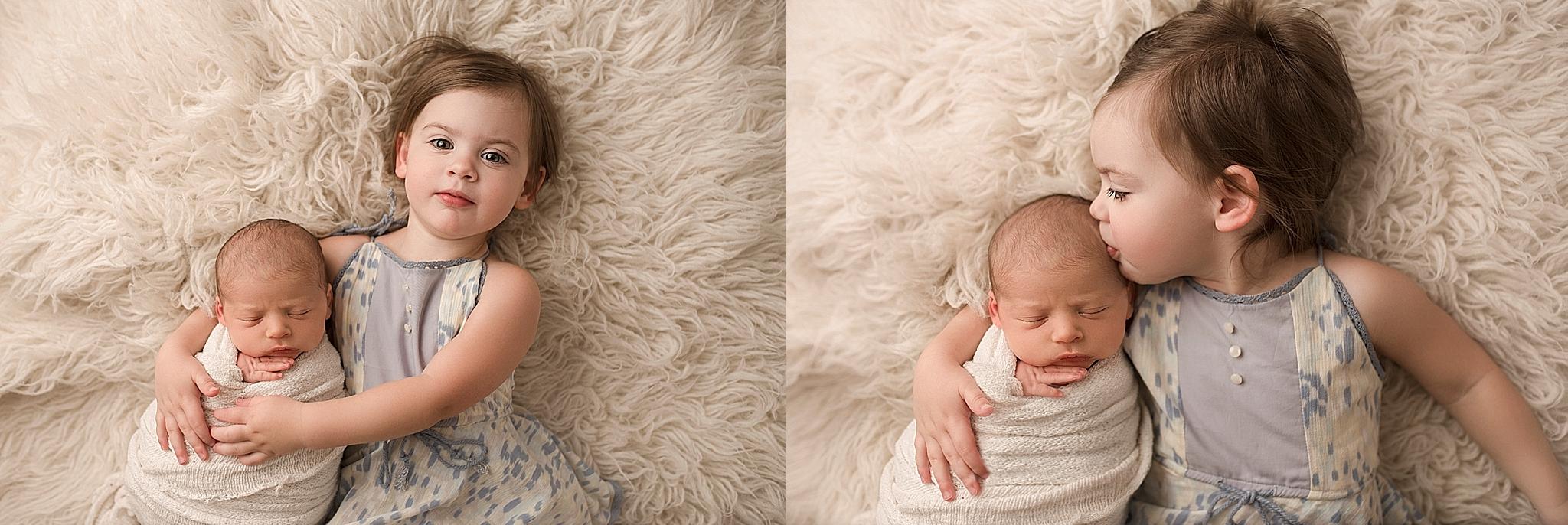 Sibling posing ideas newborn
