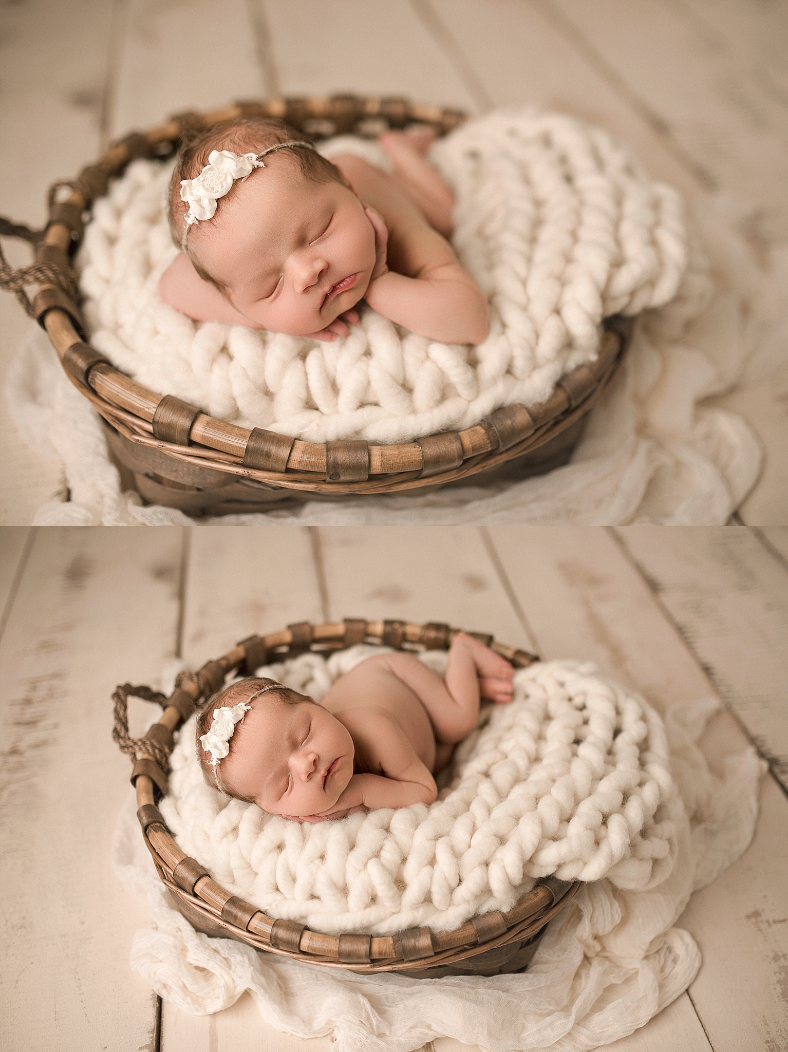 Neutral baby girl newborn prop posing