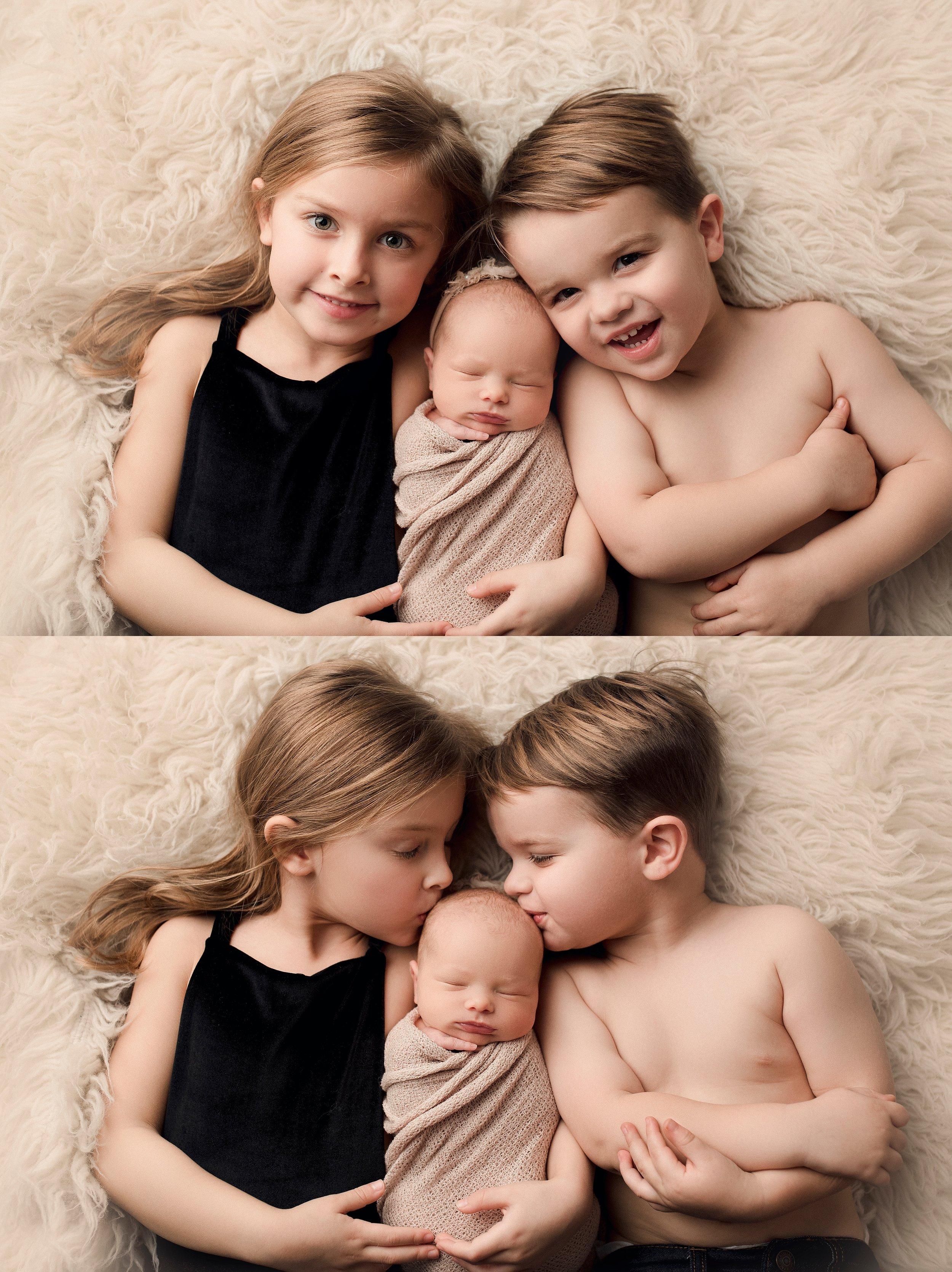 Sibling newborn photography posing