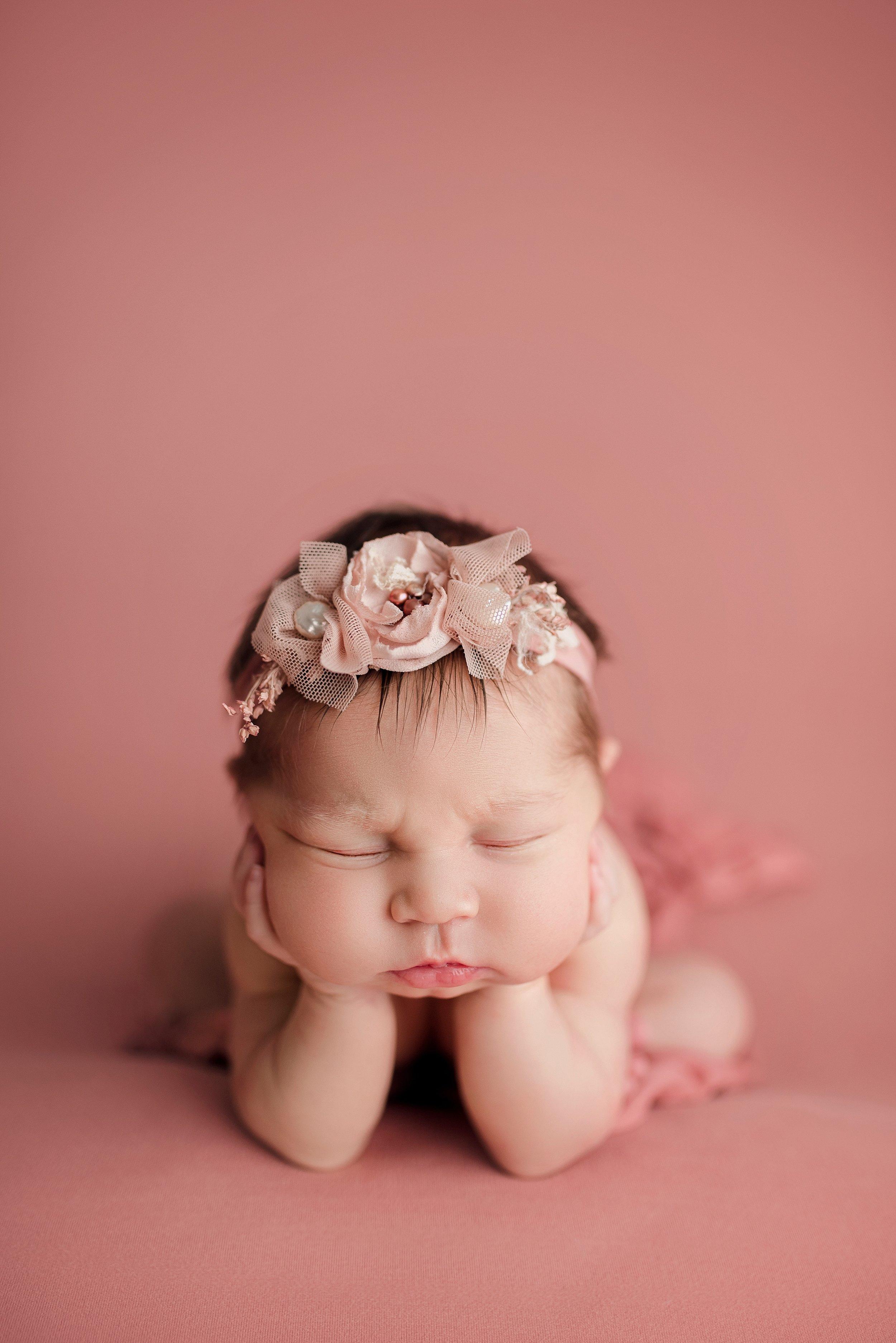 Newborn babygirl froggy posing