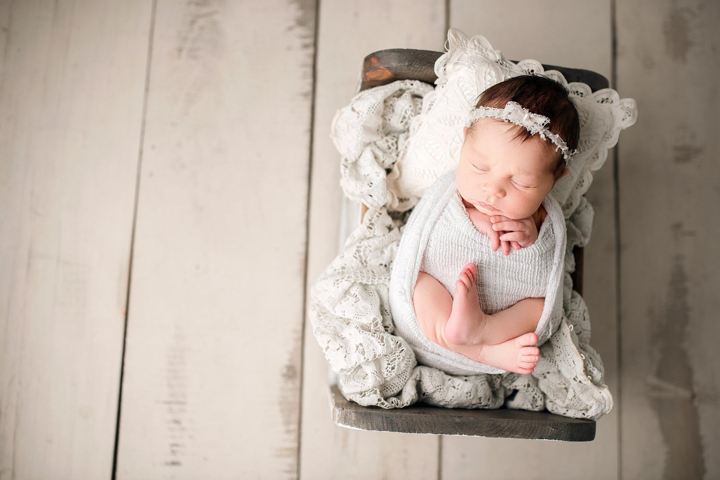 Baby girl newborn neutral props vintage
