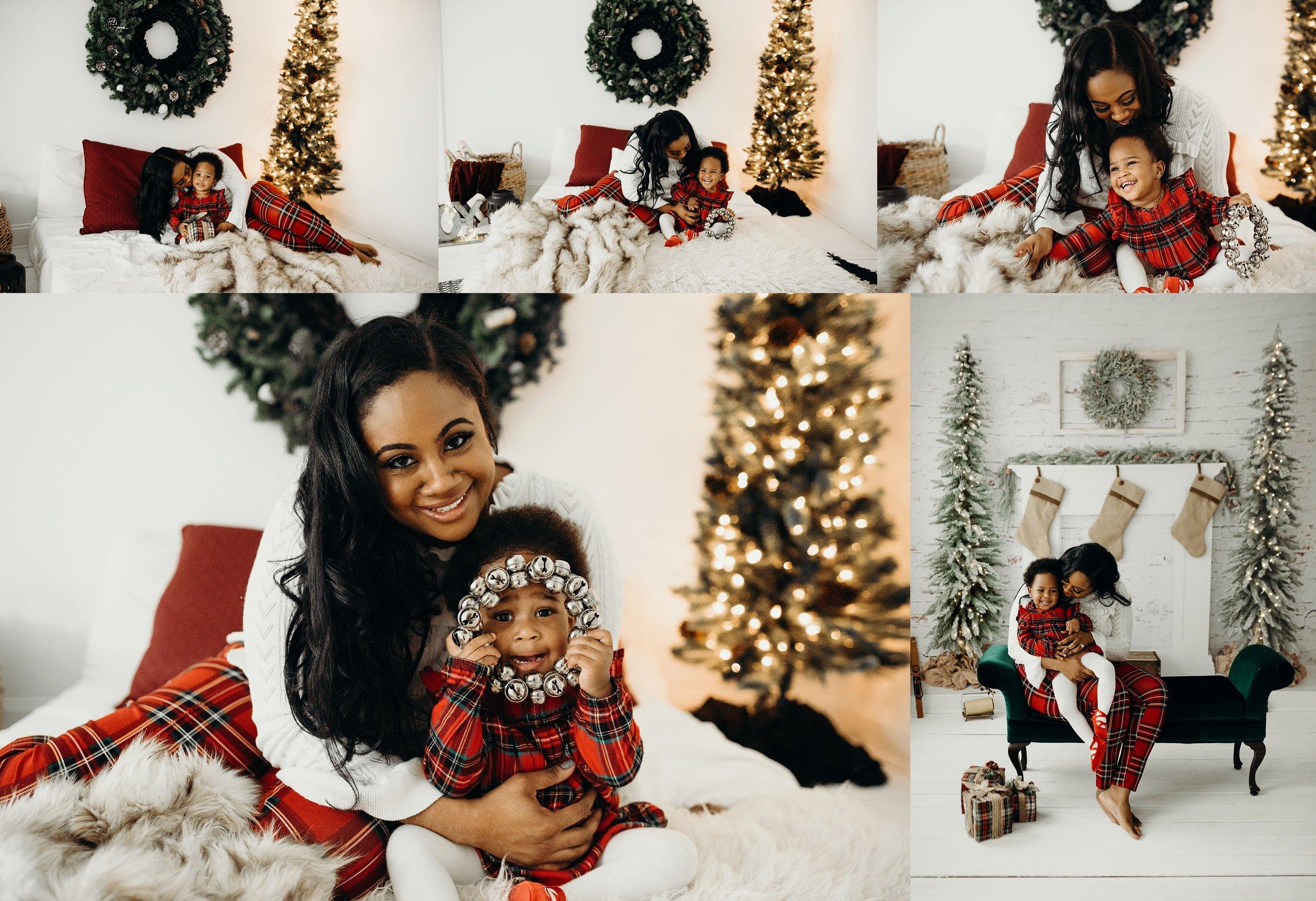 Mom and child Christmas photo