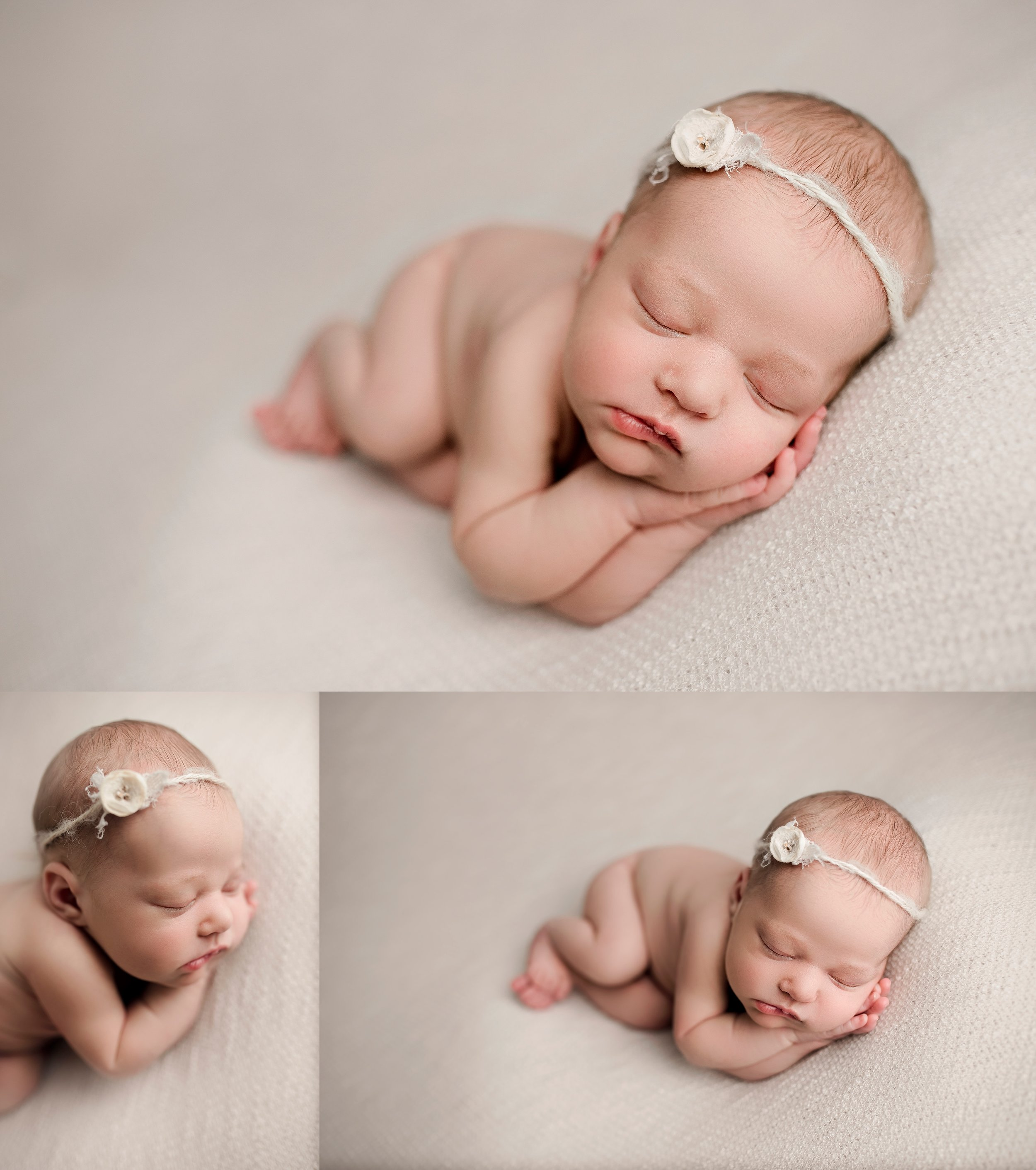 Newborn girl side laying pose