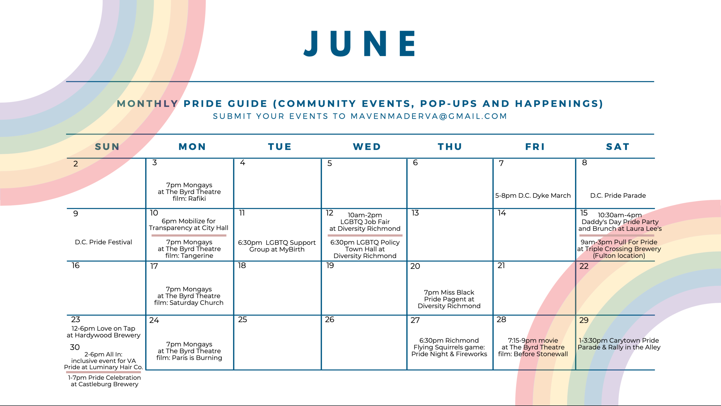2019 Richmond Pride Events Calendar