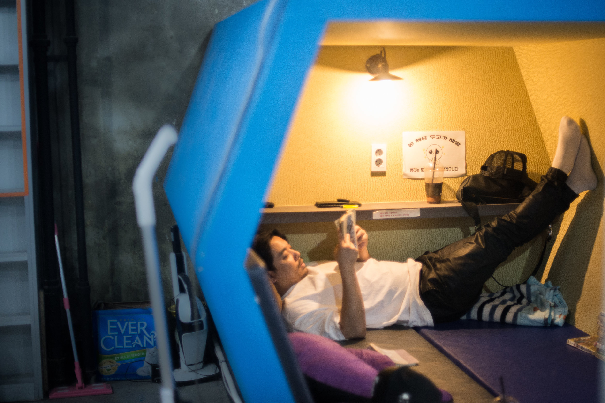 Comic book cafes, open 24 hours a day, provide concentration pods for reading a book in isolation.
