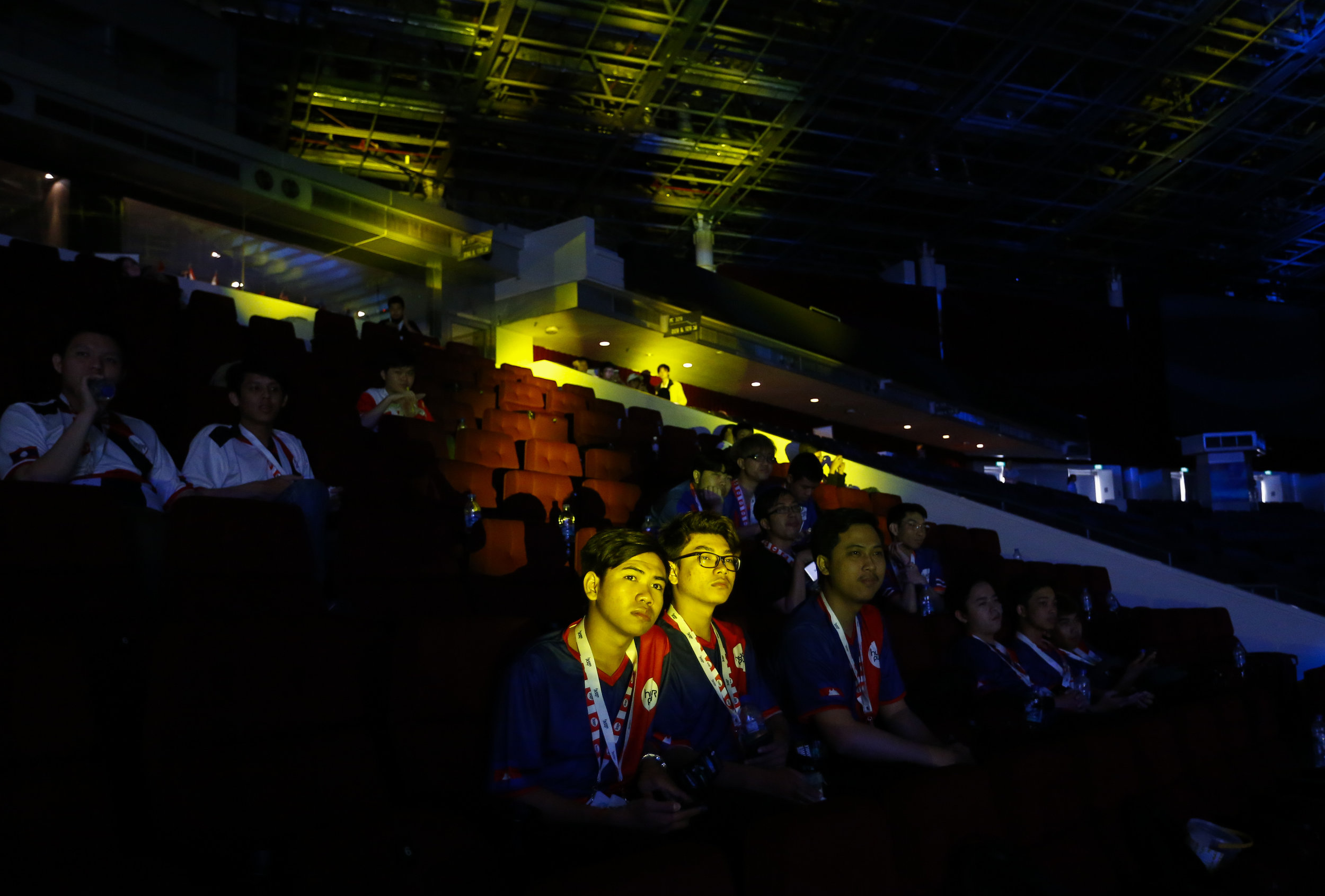 Cambodian League of Legends players watch Hyperplay, an e-sports tournament held in Singapore, August 4, 2018. REUTERS/Feline Lim