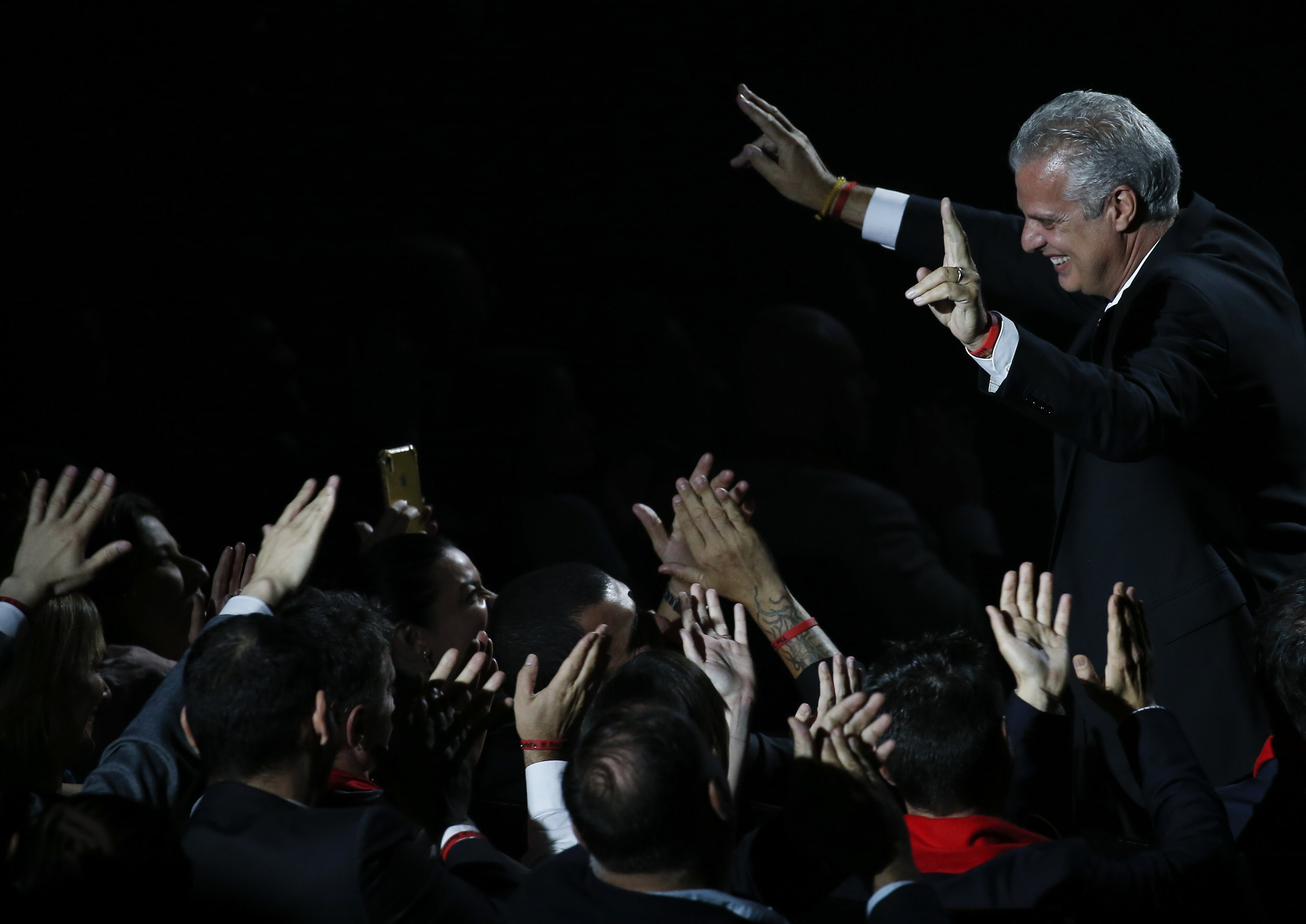 Chef Eric Ripert of Le Bernadin restaurant reacts after receiving an award during the World's 50 Best Restaurants Awards at the Marina Bay Sands in Singapore, June 25, 2019. REUTERS/Feline Lim