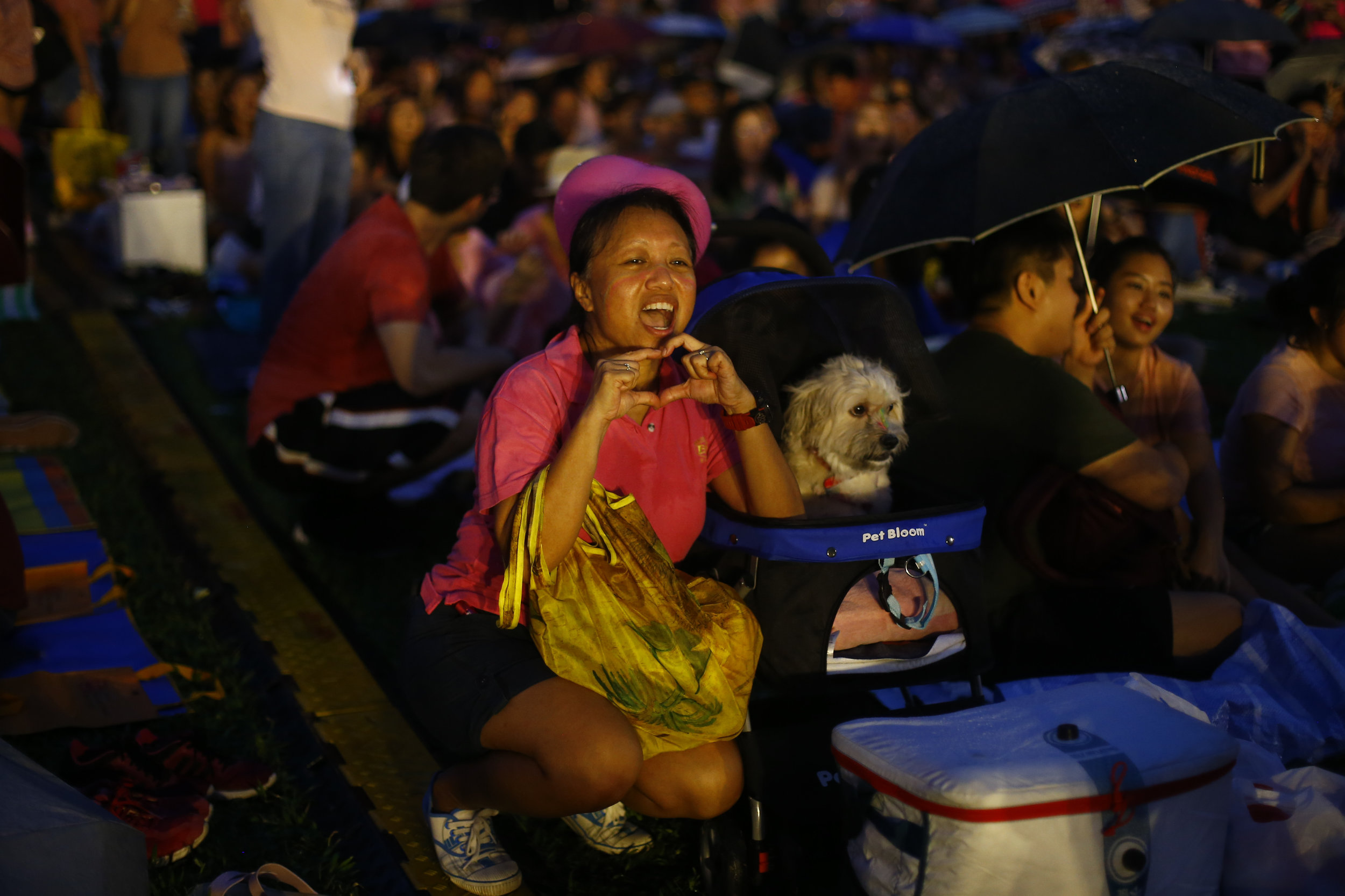 A woman and her pet dog are seen at Pink Dot, an annual event organised in support of the LGBT community, at the Speakers' Corner in Hong Lim Park in Singapore, June 29, 2019. REUTERS/Feline Lim