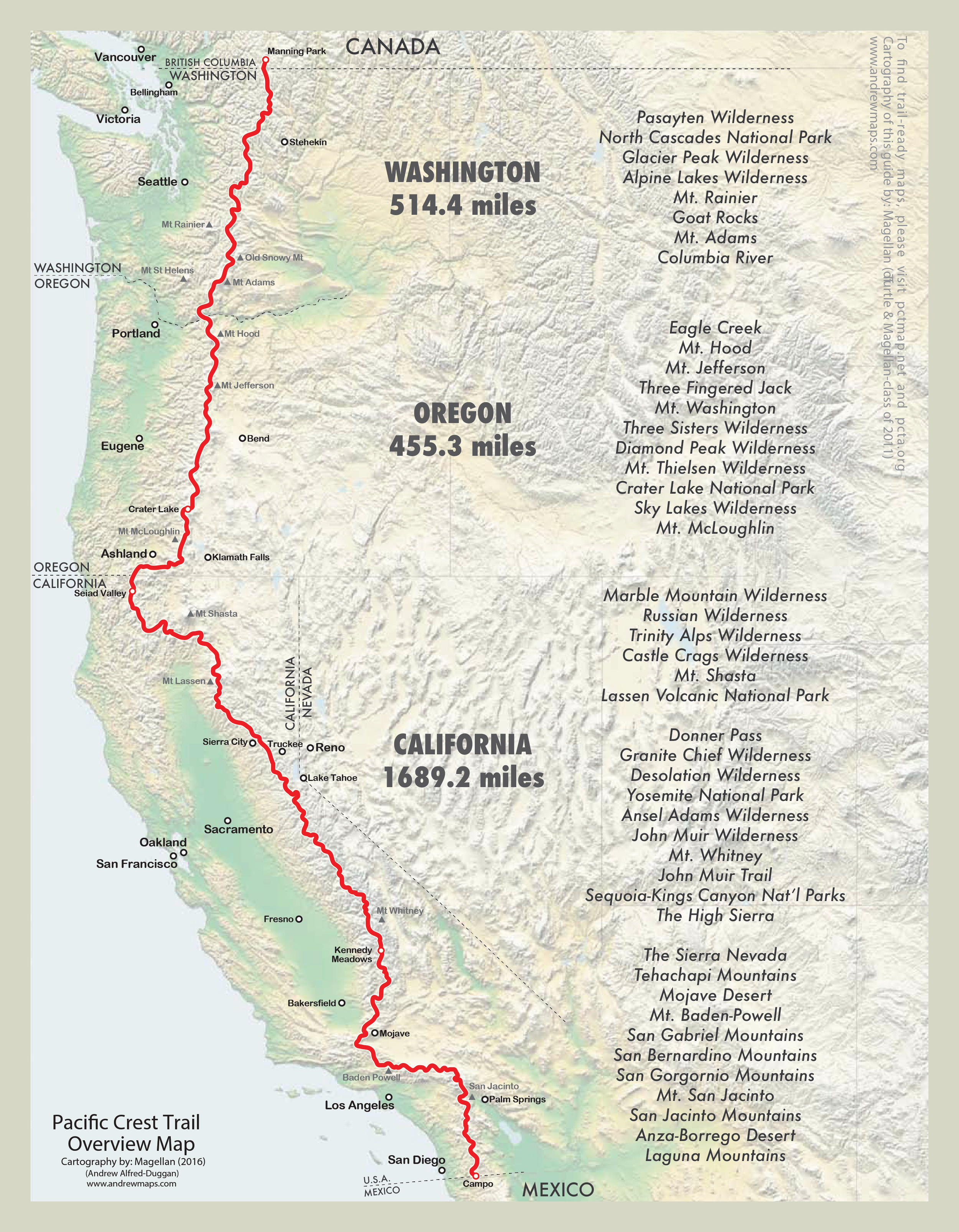 Map modified from  Halfmile 's PCT Map.