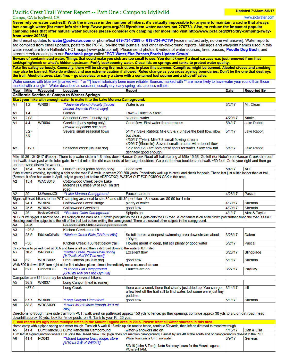 Example of a page of the Water Report. For more info, visit: https://pctwater.com/ .