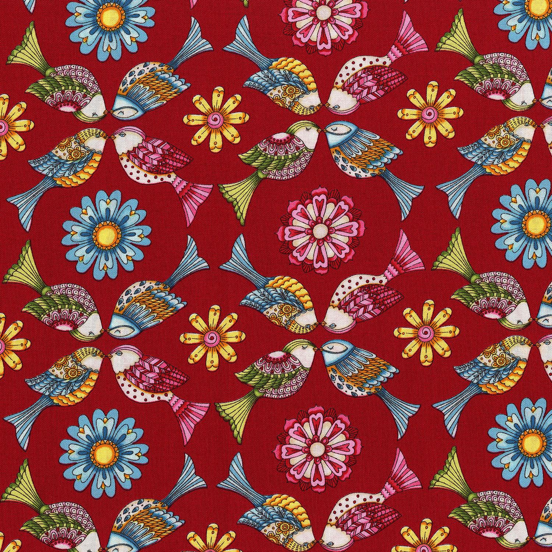 3243-004 GARDEN BIRDS-RED