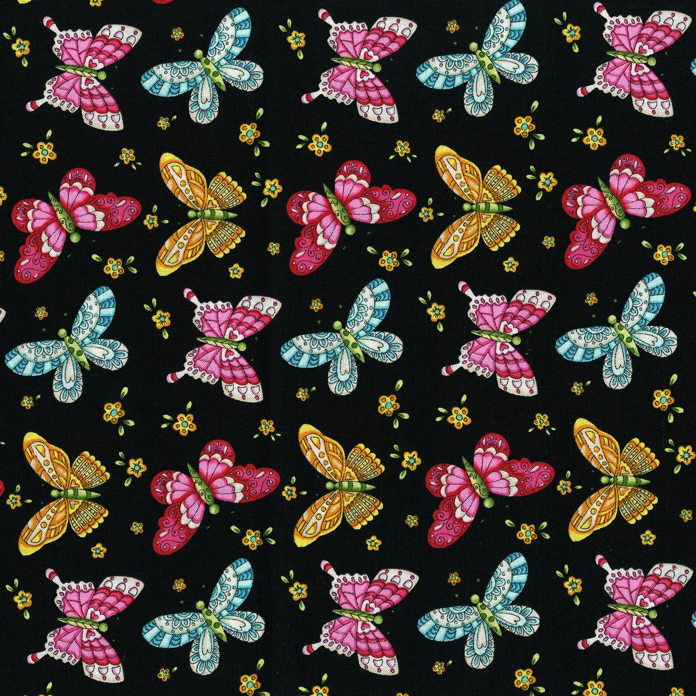 3245-002 BUTTERFLIES-BLACK