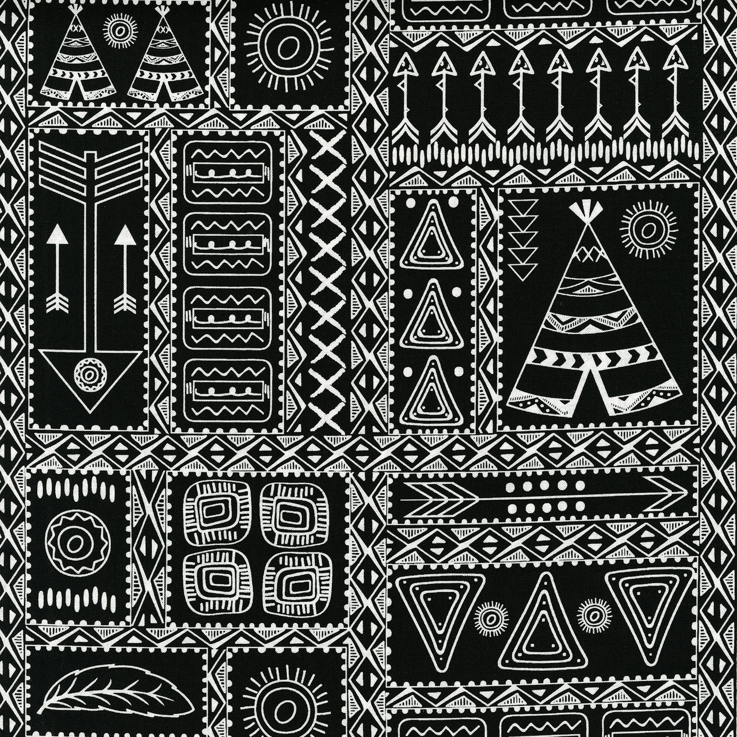 3330-002  PATCHWORK SYMBOLS-WHITE BLACK