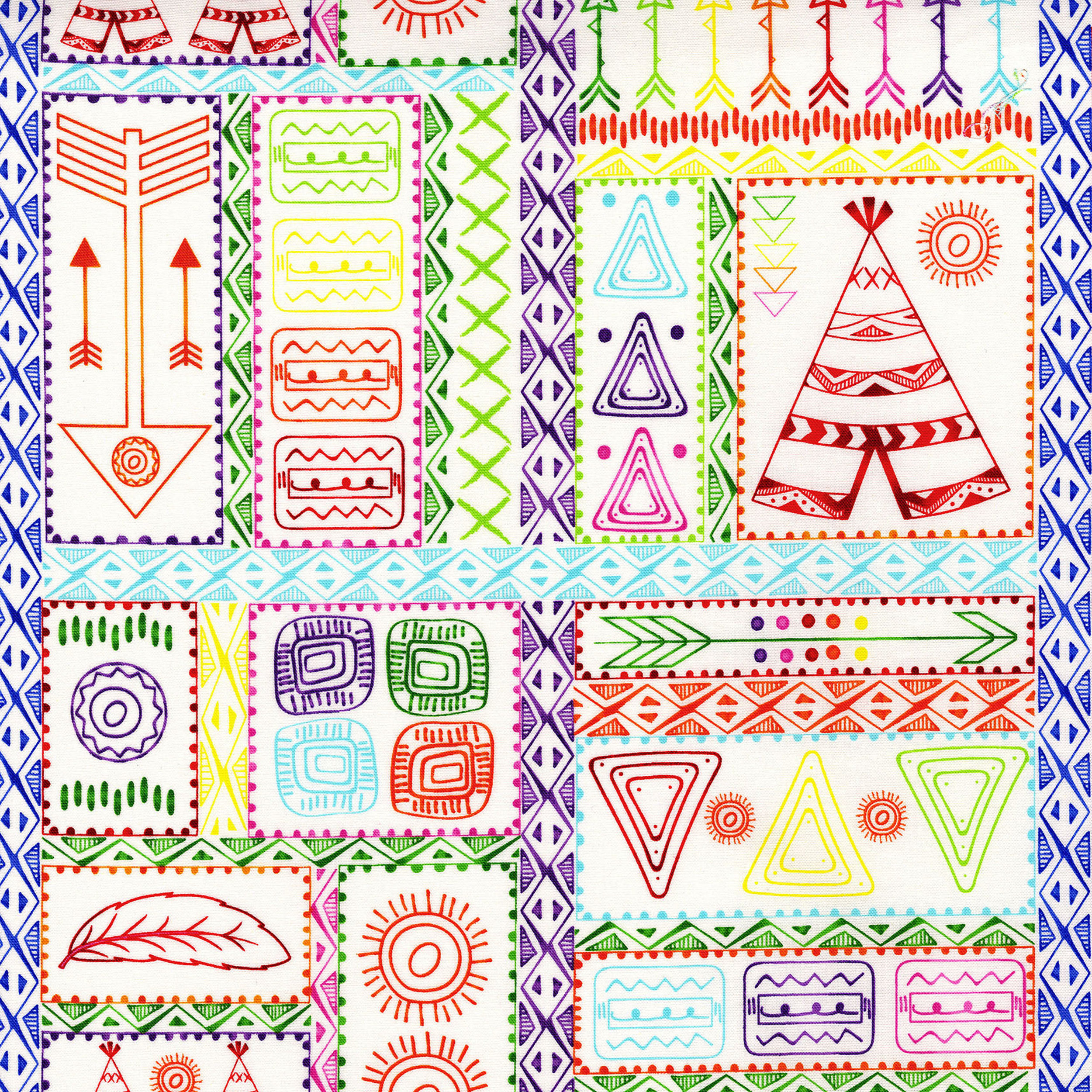 3330-003  PATCHWORK SYMBOLS-BRIGHT WHITE
