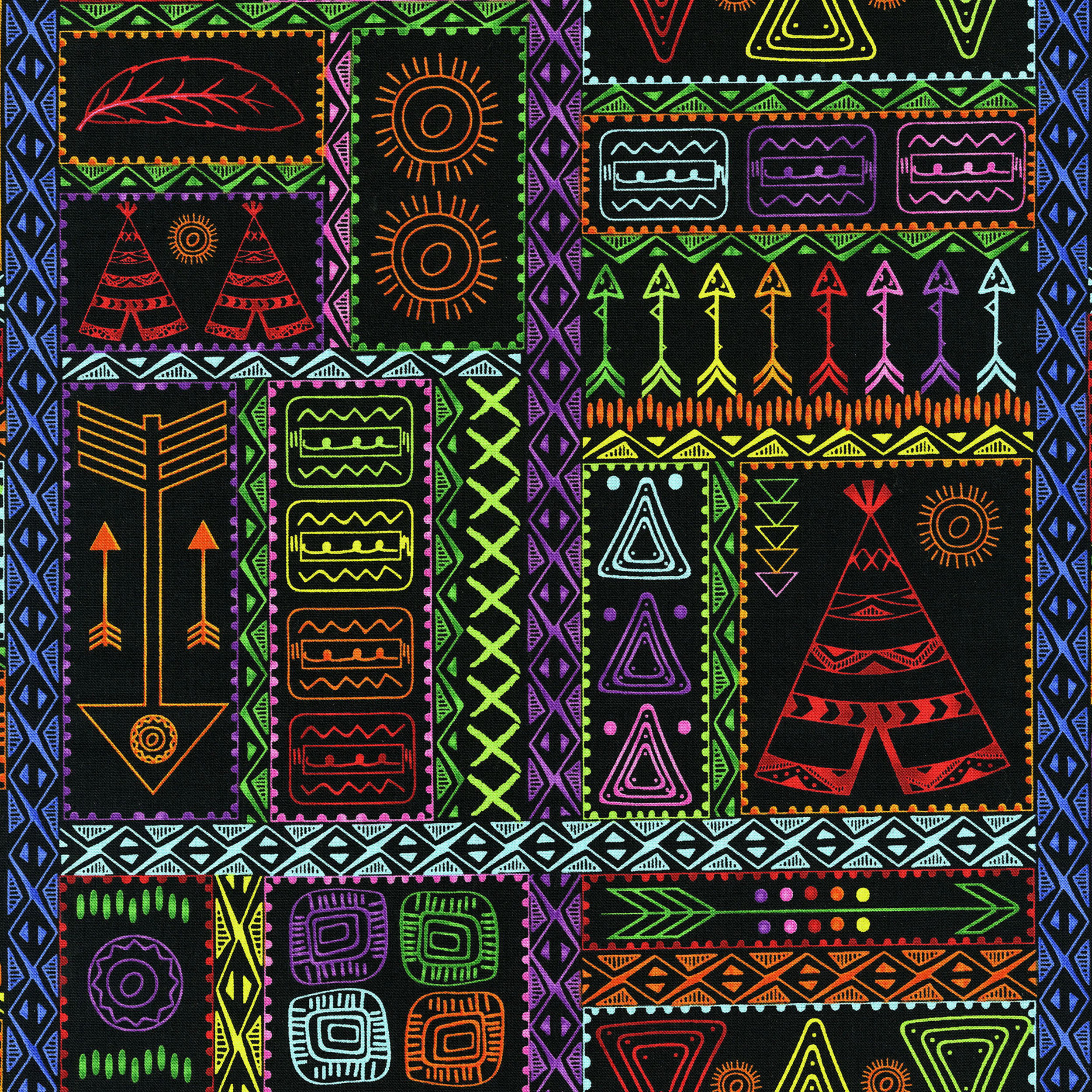 3330-001  PATCHWORK SYMBOLS-BRIGHT BLACK