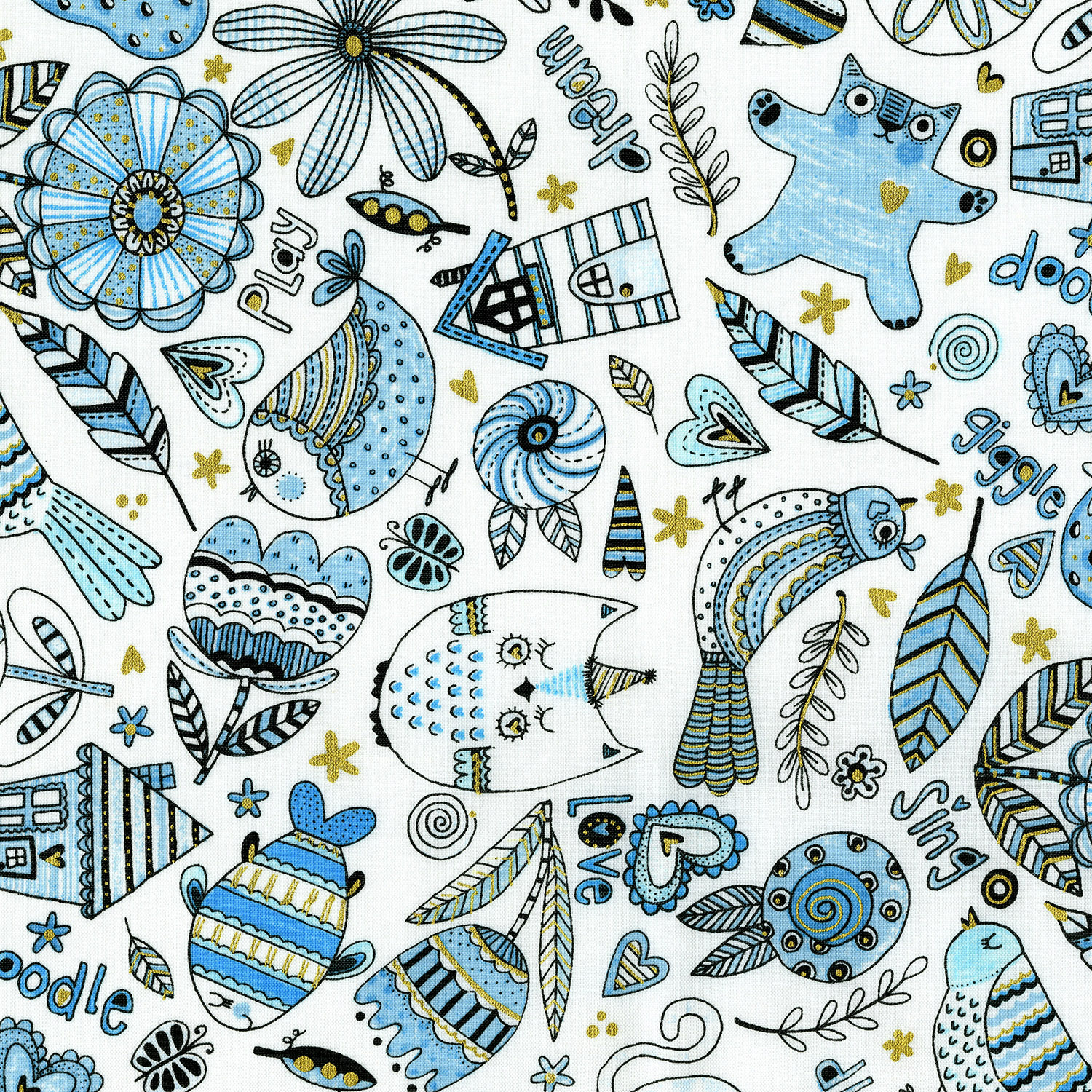 3377-002 DOODLE PLAY-BLUE
