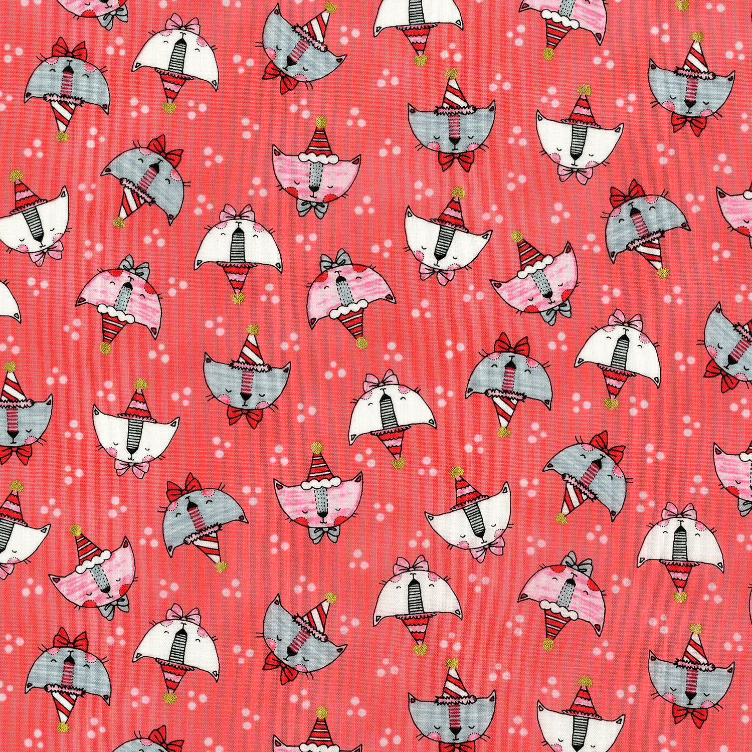 3379-003 DOODLE PARTY CATS-CORAL