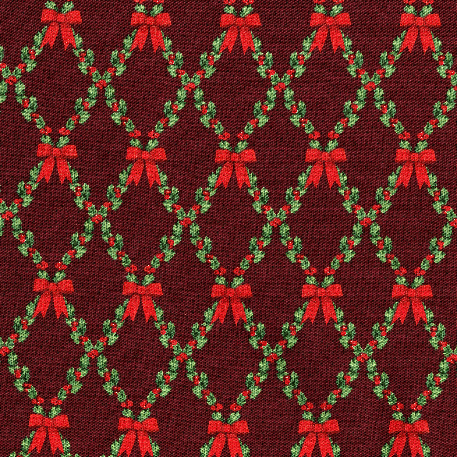3490-001 BOWS AND HOLLY-RADIANT CRIMSON