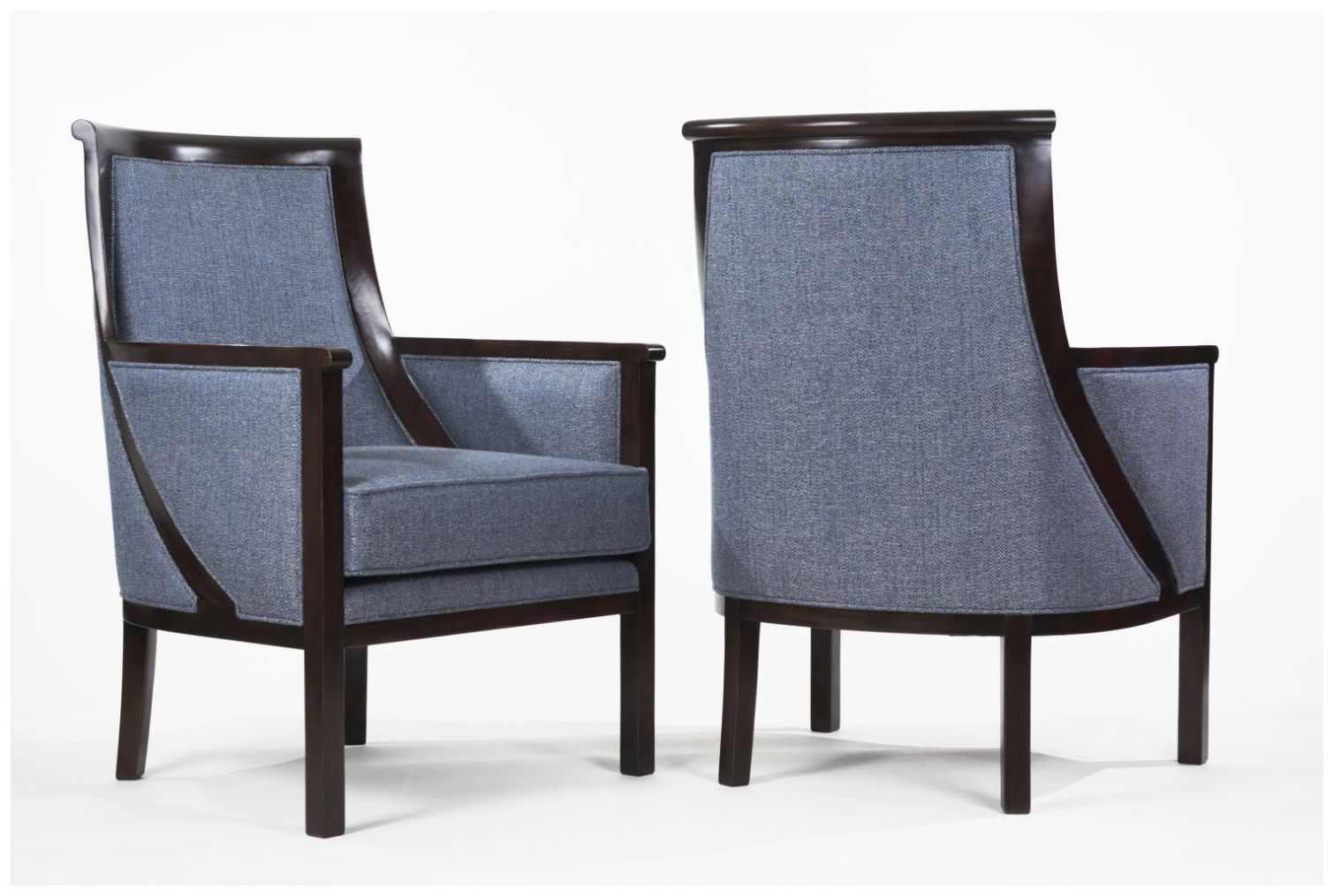 Custom Hospitality Armchairs with Upholstered Back and Sidepanels
