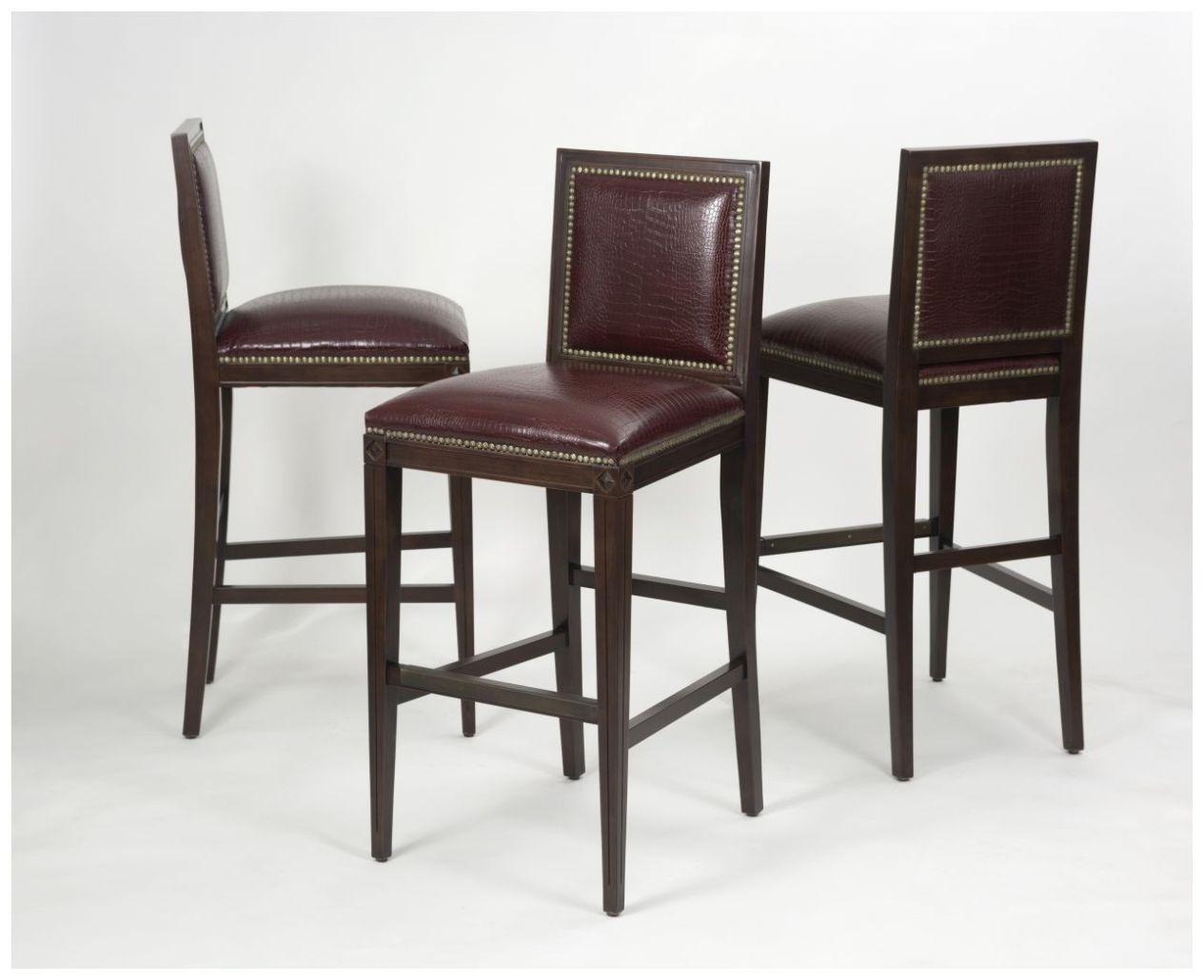 Custom Upholstered Barstools with Nailhead Trim