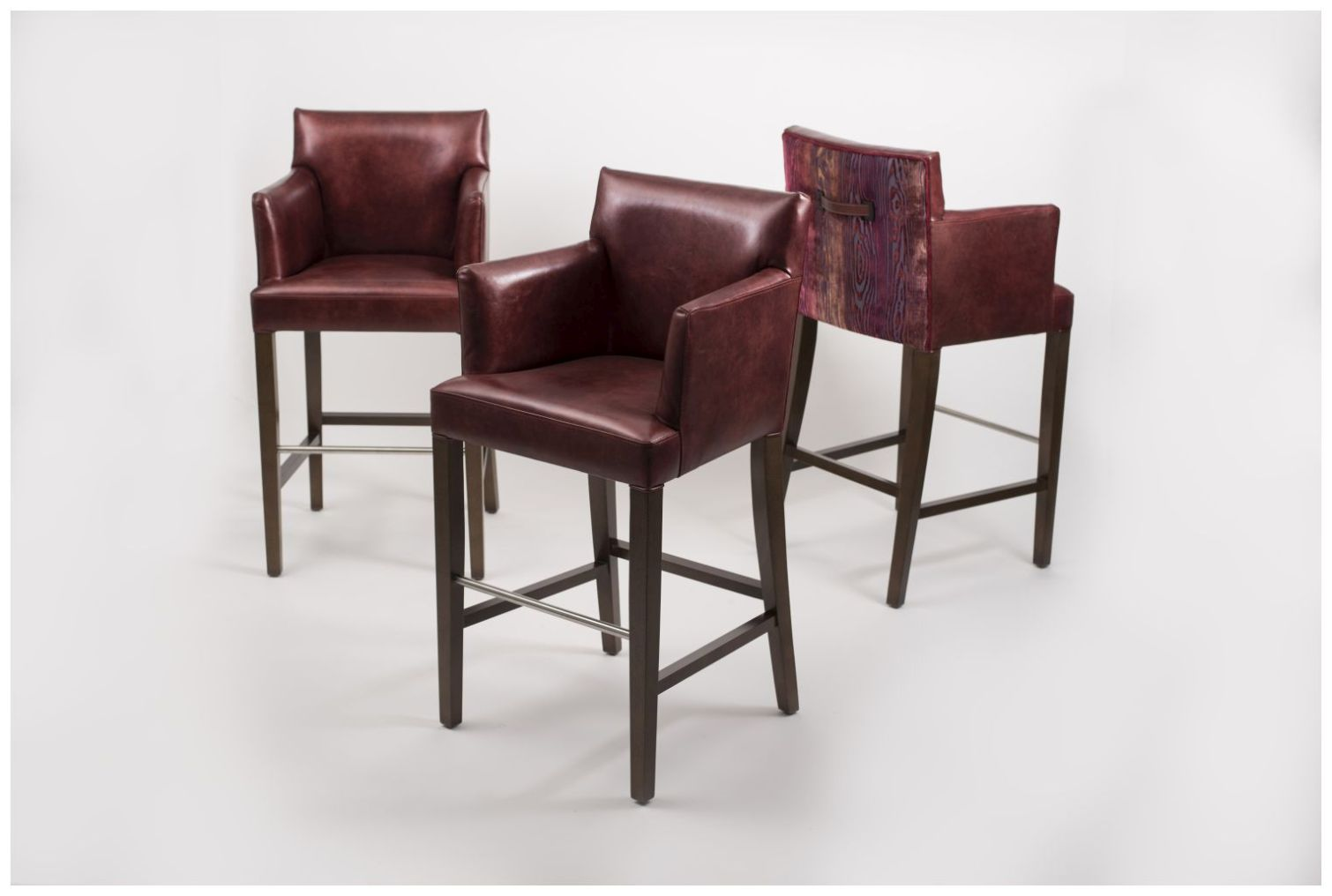Custom Upholstered Barstools with Raised Arms