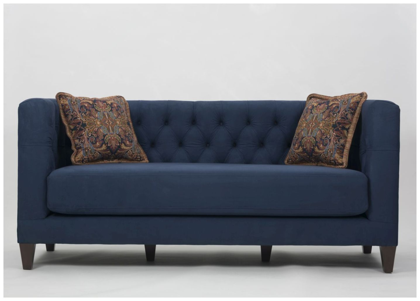 Custom Button Tufted Sofa with Accent Pillows