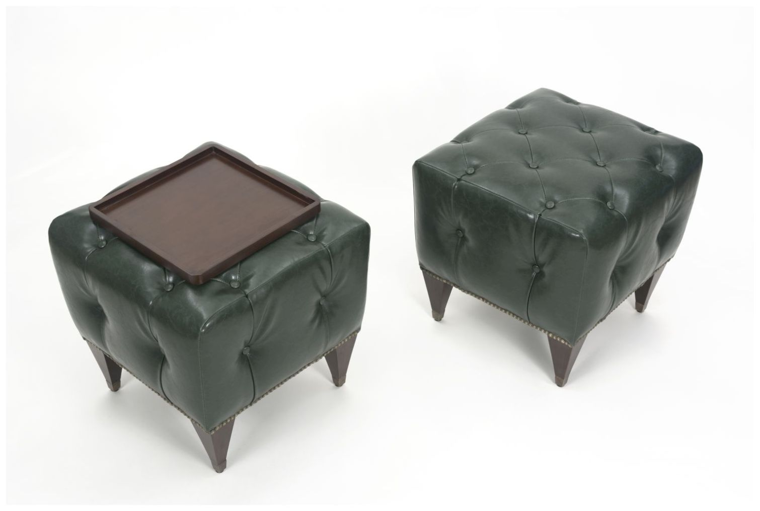 Custom Upholstered Ottomans with Button Tufting and Tapered Sides