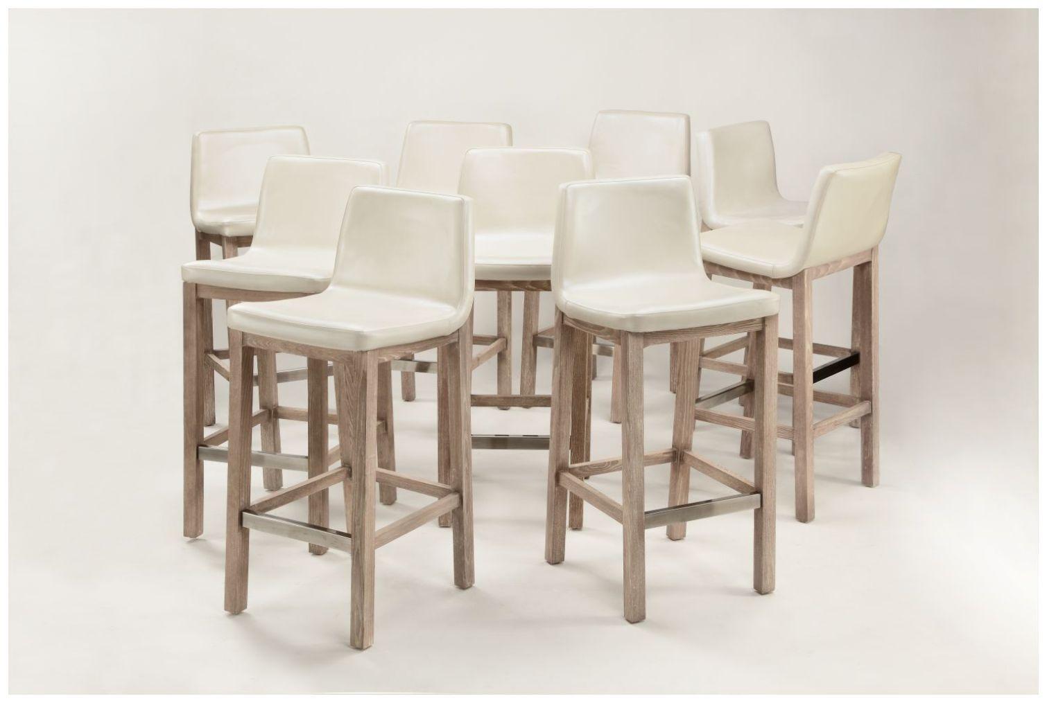 Custom Contemporary Scoop Seat White Barstools