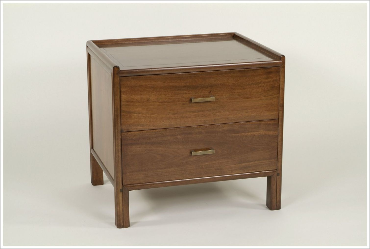 Custom Solid Wood Hotel Nightstand with Bronze Hardware