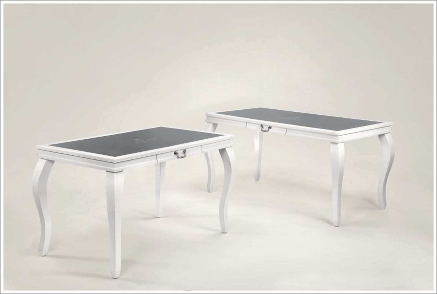 White Hotel Desks with Inset Glass Top and Cabriole Legs
