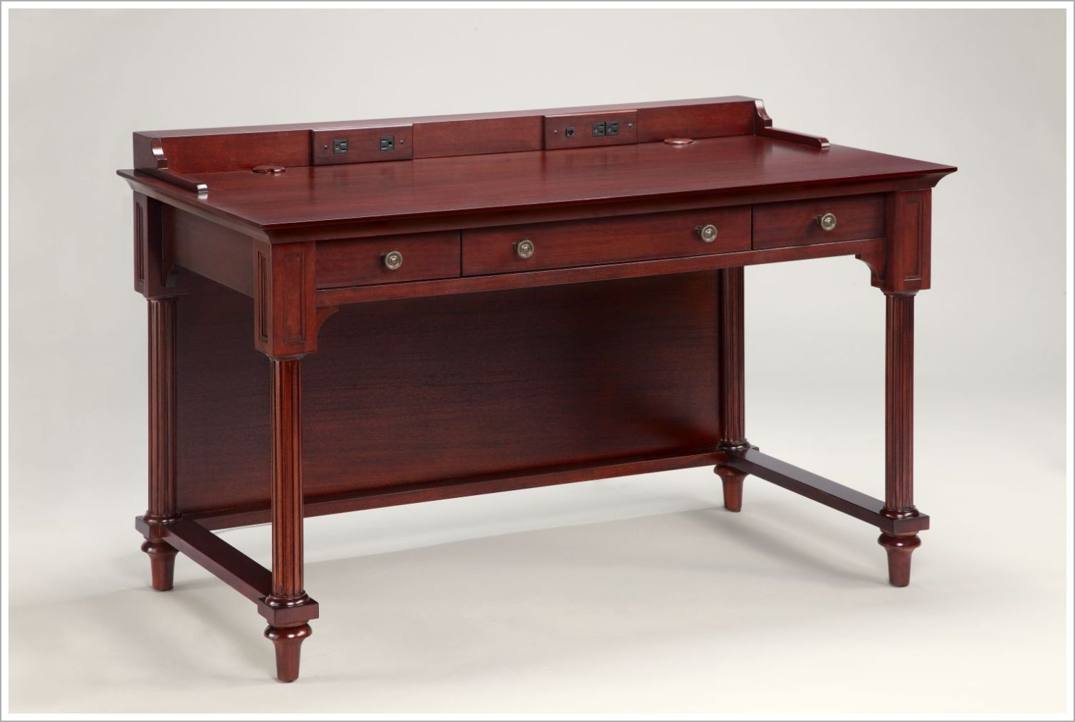Custom Mahogany Hotel Desk with Built In Power Outlets and Data Jack