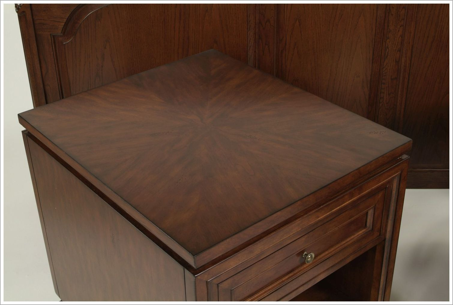 Custom Hotel Nightstand with Intricate Veneer Pattern
