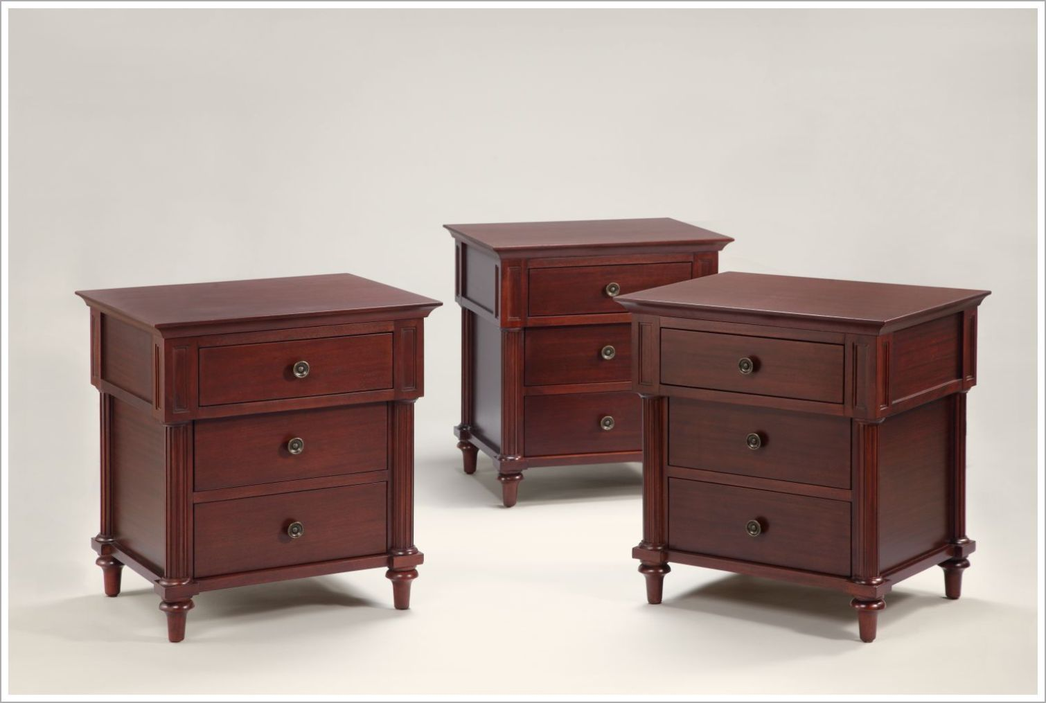 Custom Mahogany Hotel Nightstands with Three Drawers