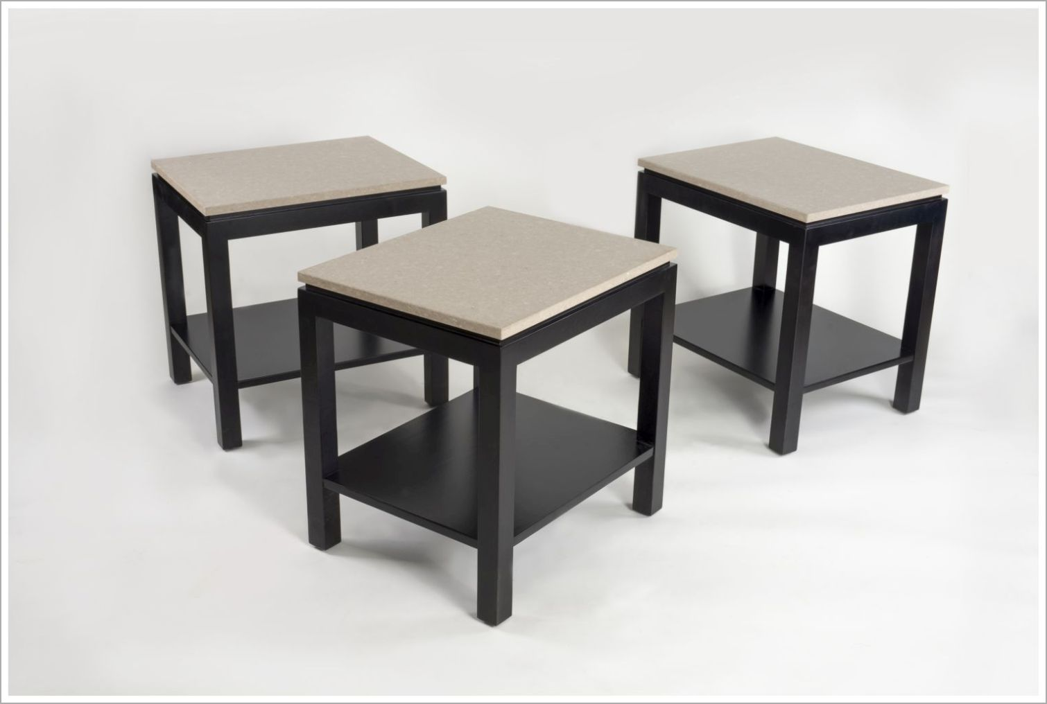 Custom Two Tone Hotel End Tables with Bottom Shelf