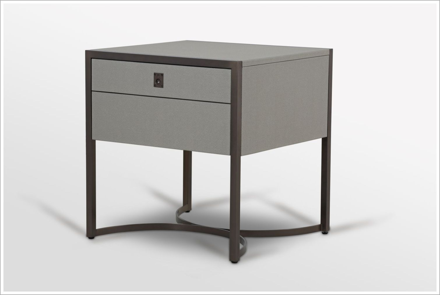 Custom Nightstand with Shagreen Surfaces and Metal Frame-Side View