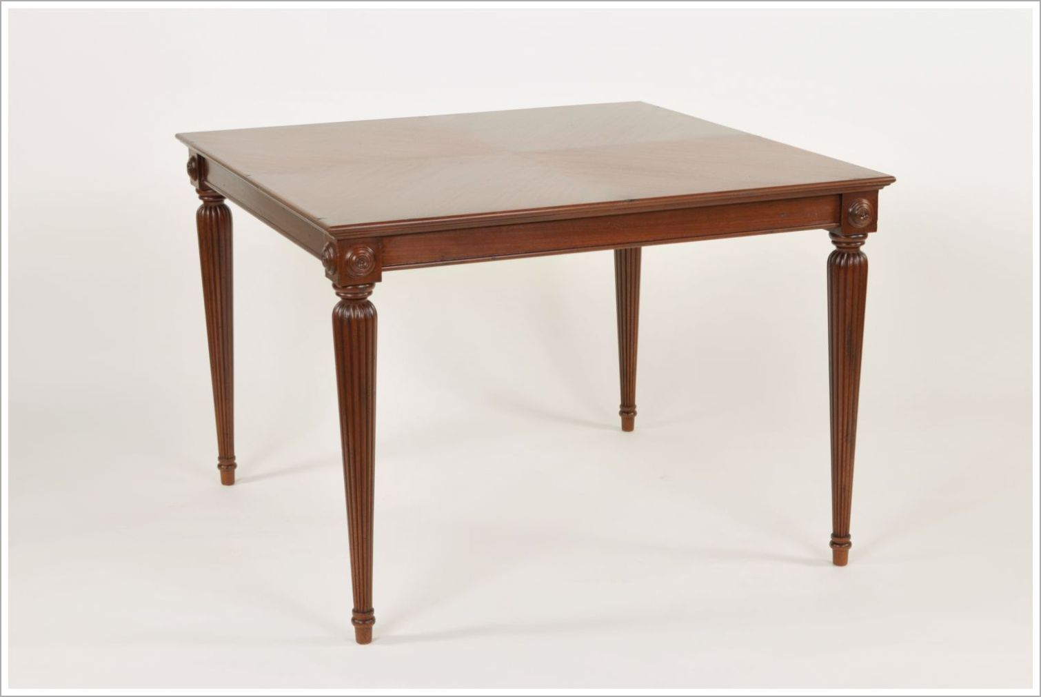 Custom Mahogany Restaurant Dining Table with Reverse Diamond Top and Carved Legs