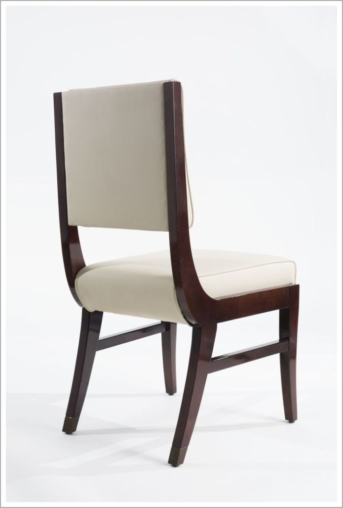 Custom Hospitality Chair with White Upholstery - Back View