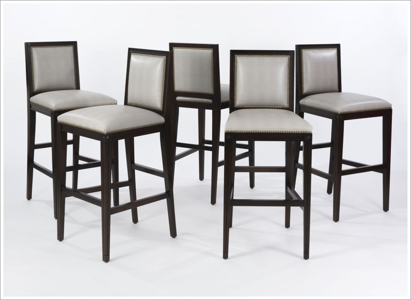 Custom Barstools with Upholstery and Brass Nailhead Trim