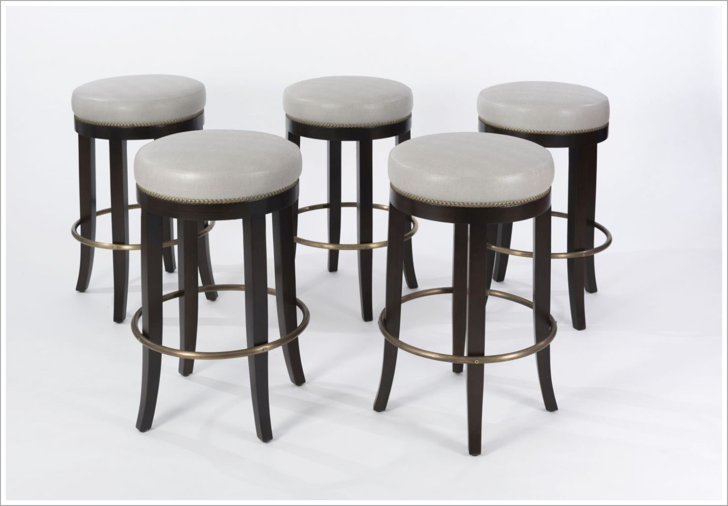 Custom Upholstered Barstools with Brass Footrest