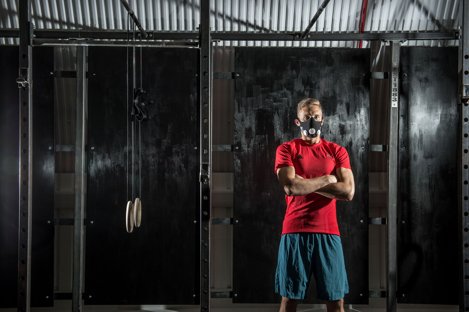 Breathing difficulties:MF's Sam used a training mask to boost cardiovascular fitness, like many of the firefighters that follow the 555 workouts.