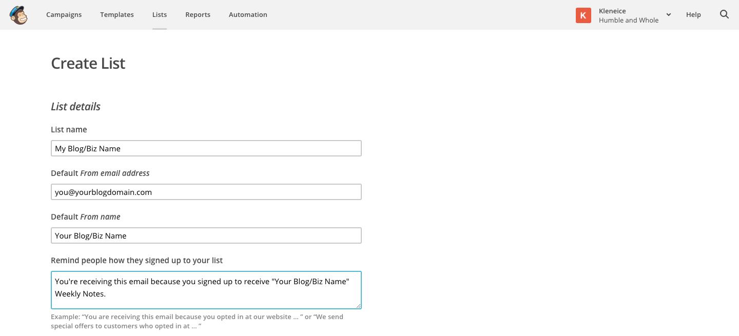 Creating Your MailChimp List