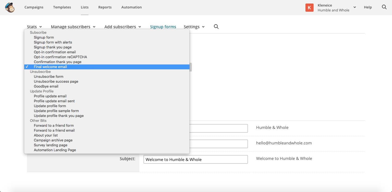 MailChimp Sign Up Forms