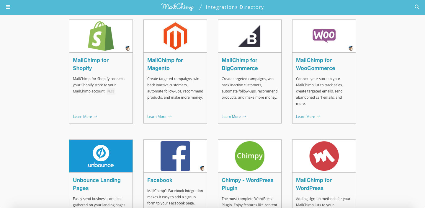 Just a brief snapshot of the integrations available, but this doesn't even scratch the surface. Mailchimp also integrates with Zoho, Insightly, Squarespace, TypeForm, Google Analytics, Zapier, etc.